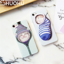 Cute Cartoon Painting Zipper Cat Coque Relief Sock Cat Back Cover Ultra Thin TPU Soft Phone Case For iPhone 6 6S 7 Plus