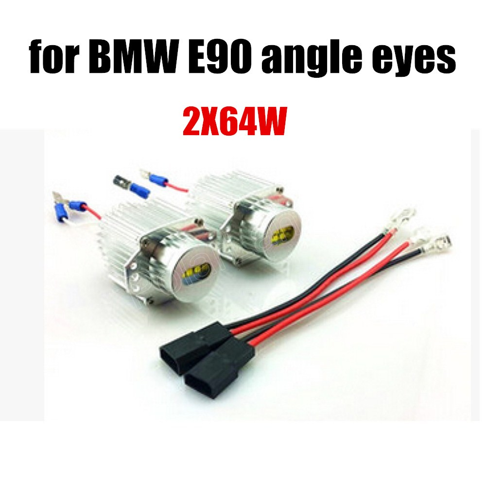 Super Bright 64WX2 LED Angel eyes for BMW E90 headlight 12V marker 2 pieces free shipping <br><br>Aliexpress