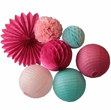 7pcs (Pink,Fuchsia,Blue) Party Decoration Set Hanging Paper Fan,Paper Lanterns,Honeycomb Ball,Tissue Paper Pom Pom Wedding Decor(China)