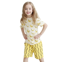 Baby Girls 2PCS Set Cotton Kids Unisex Clothes Children Clothing Newborn Girls Boys Suits Bananas T-shirts Wavy Striped Shorts
