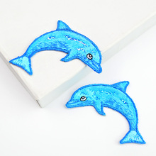 1 PC Blue Color Fish Patch Embroidery Cloth Stickers Dolphin Patches DIY Children Cloth Dress Handbag Accessories