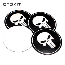 4pcs 3D Skull Car Steering Tire Wheel Center Car Sticker Hub Cap Emblem Badge Decal Symbol for Opel Renault Mazda BMW AUDI Ford(China)