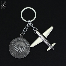 Hot Silver Plated Airplane Sky Team Alliance Keychain keyfob Star Alliance Airlines Key Chains Aircraft Plain Shape Souvenirs(China)