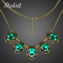 Trendy Women Vintage Green Crystal Maxi Antique Bronze Color Statement Necklace Pendants Jewelry For Party Gift(China)