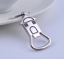 (50 Pieces/lot)New Arrival Small House Beer Bottle Opener Zinc Alloy Keychain Creative Accessories Key Ring for Party Gift(China)