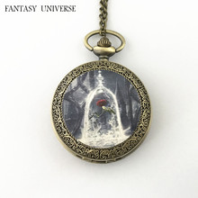 FANTASY UNIVERSE Freeshipping wholesale 20pc a lot Beauty and the beast pocket Watch necklace Dia4.7mm and Dia3.5mm  HRSYYT65