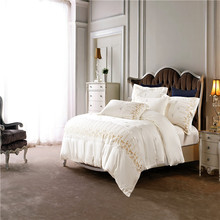 Svetanya White  Embroidered  Luxury Bed Linens Queen King Size Bedclothes 100% Egyptian Cotton  Bedding Sets