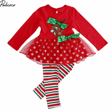 Christmas girls clothing sets 2017 kids girl Mesh deer long sleeve t-shirts + tutu dress leggings children's clothing 2pcs set(China)