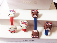 30pcs/lot Cute Hello Kitty Headphone Earphone Cable Wire Organizer Cord Holder USB Charger Cable Winder For iphone samsung