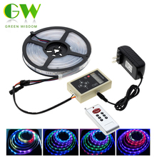 6803 IC Magic Dream Color RGB LED Strip 5050 30LED/m Chasing Lights + 133 Program RF Magic Controller + Power Adapter(China)