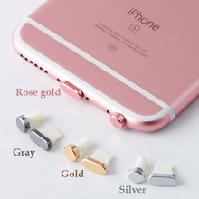 KMAX 5 in 1 Metal Alloy Earphone Jack Anti Dust Plug Ear Earphone Cap for iPhone 7 6 6S Plus cell Phone Telephone Headphone Plug(China)