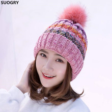 SUOGRY Women's Winter Crochet Knitted Hat Fleece Lined Cable Faux Fur Pom Beanie Hat(China)