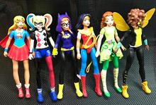 6pcs DC Super Hero Girls Batgirl Poison Ivy Bumble Bee Harley Quinn Action figure Doll Toy 15CM