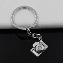 Fashion diameter 30mm Key Ring Metal Key Chain Keychain Jewelry Antique Silver Plated camera 20*16mm Pendant