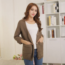 2016 Top Selling Female Long Thick Hand Knitted Cardigan Sweater Solid Full Sleeve V-neck Single Breasted Pockets  Women's Coat