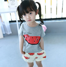 summer suit for boys and girls baby watermelon short sleeve T-shirt + shorts beach pants 2 pcs sets Cheap clothes 2-6year
