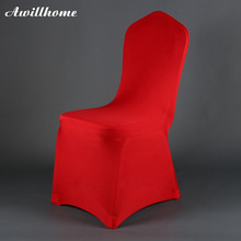 Awillhome shipping free 100PCS red good quallity cheap lycra banquet chair cover for wedding decortation(China)