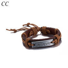 Believe engraved fashion jewelry leather bracelet for women men colorful rope adjustable size pulseiras hand accessories CSH017