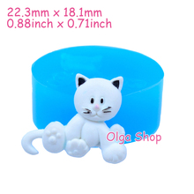 DYL067 22.3mm Cat Silicone Push Mold - Animal Mold Cupcake Topper, Fondant Craft, Cake Decoration, Charm Resin Clay, Candy Mold