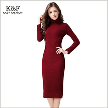 KASY Winter Turtleneck Long Sleeve Back Split Sheath Elegant Red Sweater Dress Sexy Knitted Pencil Dress kleid knielang rot