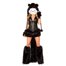 Wholesale Black Teddy Bear Costume for Adult Animal Cosplay Costume Halloween Costumes for Women Fantasia Cosplay Fancy Dress