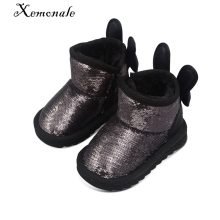 Xemnole winter brand snow boots for baby girls glitter bunny shoes childre pu leather boots boys fashion warm boots pink