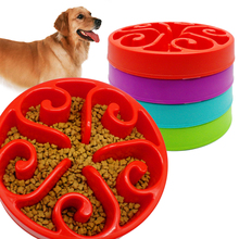 Anti -Glulping Plastic Dog Slow Feeding Bowl Pet Water Drinking Dish Non Slip 4 Colors Avaliable For Medium Dogs(China)