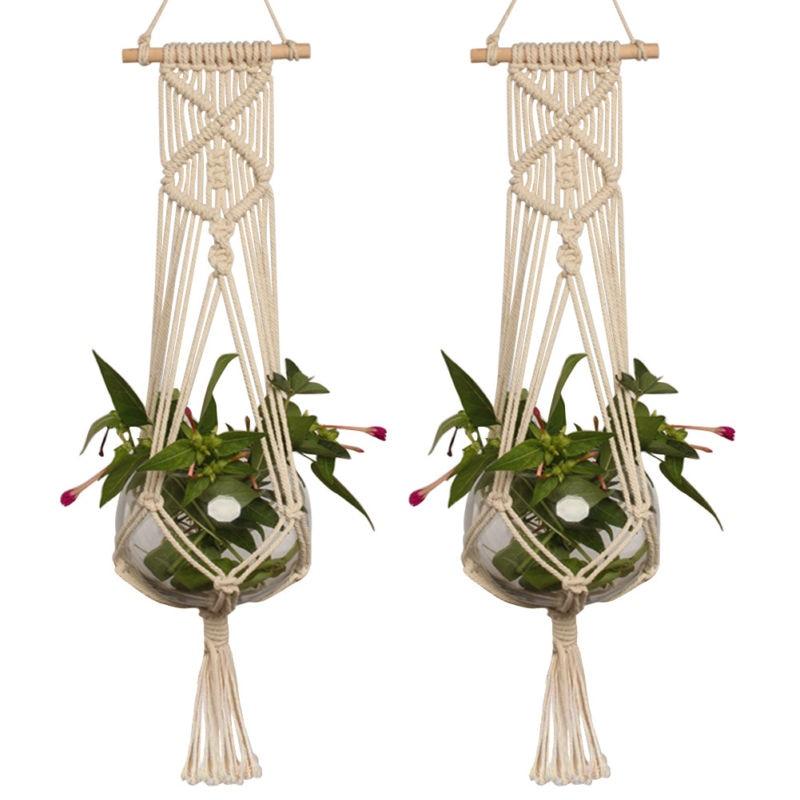Mayitr Cotton Linen Plant Holder Macrame Plant Hanger Pot Holder Hanging Basket Jute Rope Braided Large Holder