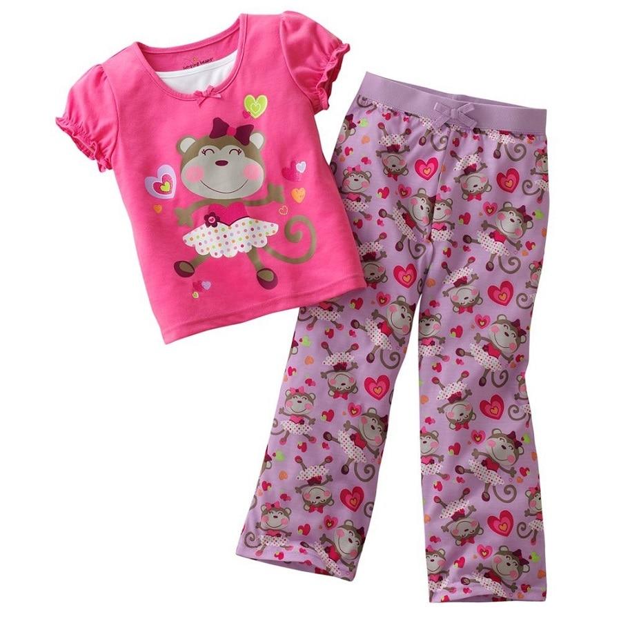 Jumping Beans Girls Clothes Suits Children Pajamas Sets Kids Sport Suits Boys T-shirts Trouser Tops Kids PJS 100% Cotton Monkey<br><br>Aliexpress