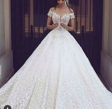 Luxury Ball Gown Wedding Dress 2017 Full Embroidery Royal Train White Lace Bridal Gowns Sexy V Neck Short Sleeves Long Dress
