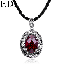 EDI Ruby Jewelry Natural Garnet Gemstones Pendant Necklace 925 sterling silver Necklace Pendant Jewelry(China)