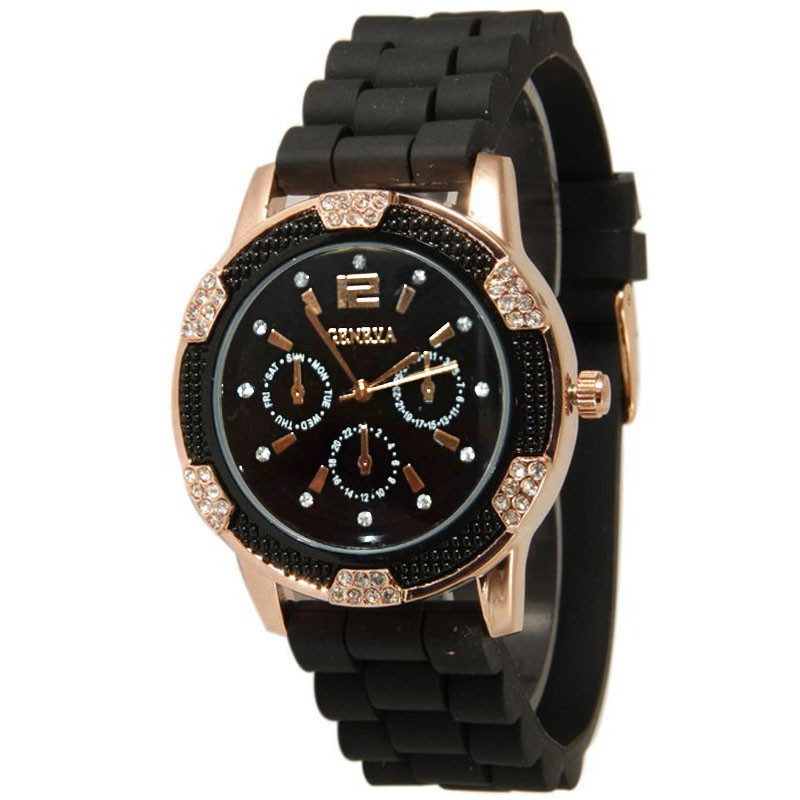Women Watch Chronograph Crystal Rhinestones Rose-Gold Silicone Waterproof Femmes  title=