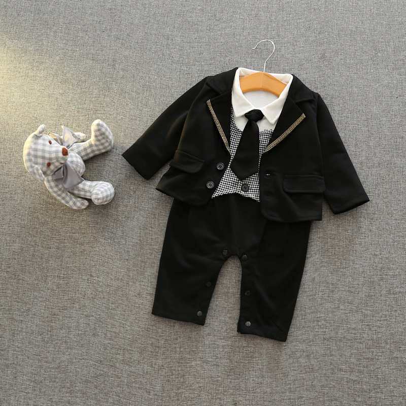 2017 Toddlers baby boy set gentleman Bow ties rompers +Jackets infants 2 pcs suit Birthday party clothing costumes set<br>