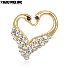XIAOJINGLING Gold/Silver Swan Brooch Charm Crystal Love Heart Fashion Brooch Pins Cute Women Girls Sweater/Scarf Brooches Gifts(China)