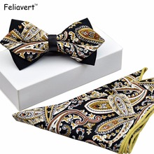 2pcs Set Bow Tie+Pocket Square Slim 100% Cotton Bowtie and Handkerchief Bow Ties for Men Red Floral Printing Elegant Corbata