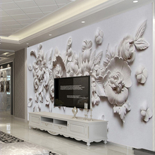 Custom Photo Wallpaper European Style 3D Stereoscopic Relief Flower Wall Mural Paper Living Room Bedroom Bedside Wall Painting(China)