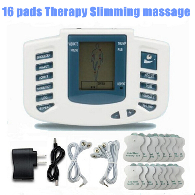 JR309 Health Care Electrical Muscle Stimulator Massageador Tens Acupuncture Therapy Machine Slimming Body Massager 16pcs pads<br><br>Aliexpress
