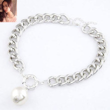 1pcs New Fashion Imitation Pearl Pendant Necklace Alloy Short Design Chain For Women Jewellery