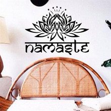 Brand 2017 38*56 Namaste Lotus Religion Letters Indian Style Wall Stickers Namaste Vinyl Decals Home Decorations Bedroom Posters(China)