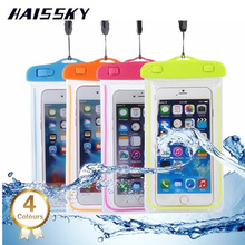 HAISSKY Luminous PVC Waterproof Case Bag Cover For iPhone 6 7 plus Samsung Galaxy S7 S6 S8 Plus For Xiaomi mi5 Huawei P9 Plus