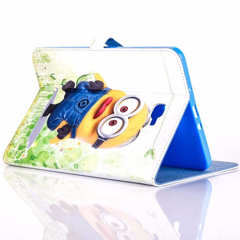 Tablet Case For Samsung Galaxy Tab A A6 10.1 2016 T580 T585 T580N Cover Cartoon Series Despicable Me Minion Stand Leather Funda
