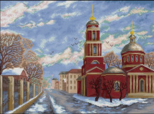 Top Quality Beautiful Lovely Counted Cross Stitch Kit Winter Snow Russia Moscow City Town Red House Street(China)