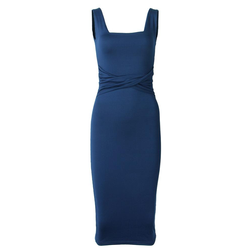 Women Summer Bodycon Dress 2018 Scoop Collar Sleeveless O-neck Sexy Midi Dresses Sheath Clubwear Femme Party Slim Dress GV575 9