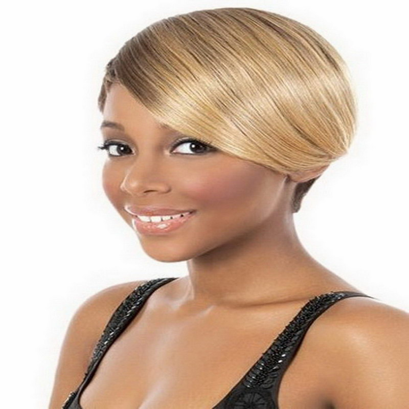 1PC Natural Hairstyles African American Short Wigs for Black Women Synthetic High Straight Brown Blonde Wig With Inclined Bangs<br><br>Aliexpress