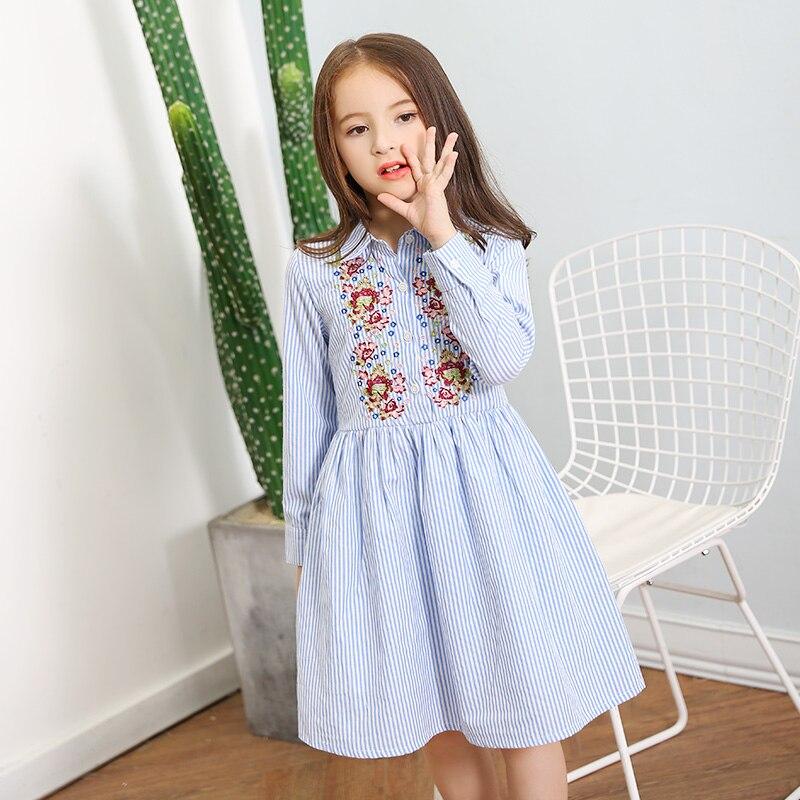 2017 New Teen Girls Long Sleeve Dress Princess Flower Embroidery Striped Dress for Kids Girl Autumn Fall Dress 10 12 14 15 years<br>