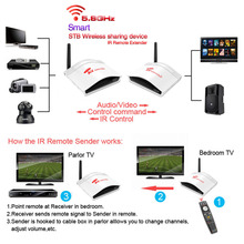 200m Wireless AV Swtich RCA 5.8G Audio Video Transmitter Receiver Sender IR Extended For STB DVD Satellite IPTV Android Cable TV