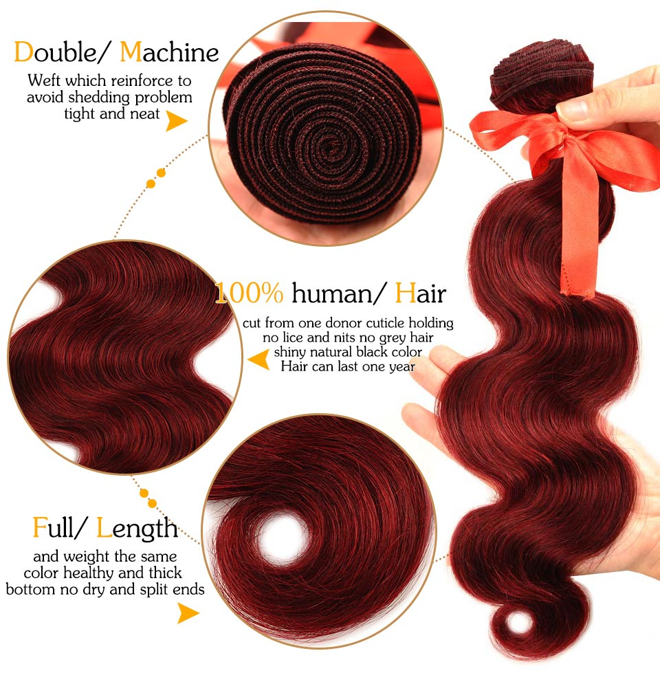 Pinshair Pre-Colored Red 99J Body Wave Brazilian Hair With Closure 4 Bundles Middle Part Lace Closure 100% Human Hair Non Remy (28)