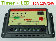 Free Shipping, 10A 12V 24V Solar Cell Panel Battery Charge Controller Regulator Timer for LED Street Lighting or PV Home System