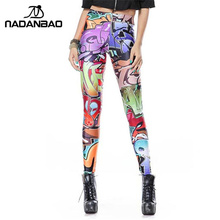 NADANBAO New Design Leggins Fashion Elastic Graffiti Spray Digital Legins Printed Women Leggings Women Pants