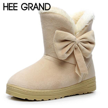 HEE GRAND New Hot Sale Women Snow Boots Solid Bowtie Slip-On Soft Cute Women Boots Round Toe Flat with Winter Shoes XWX1385(China)
